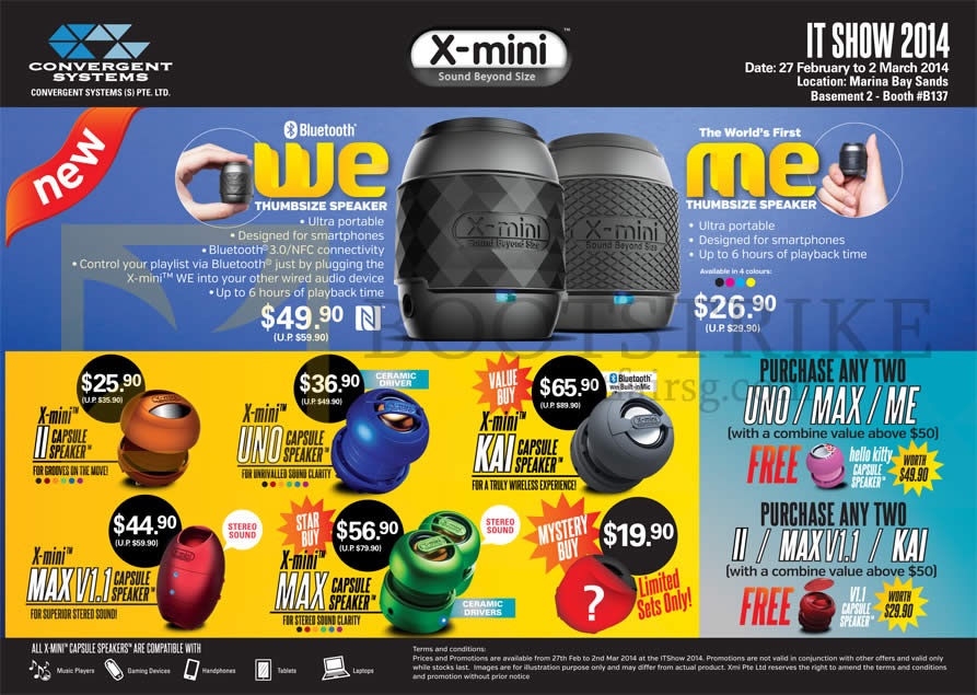 IT SHOW 2014 price list image brochure of Convergent X-Mini Bluetooth Capsule Speakers Uno, Kai, Max, Max V1.1