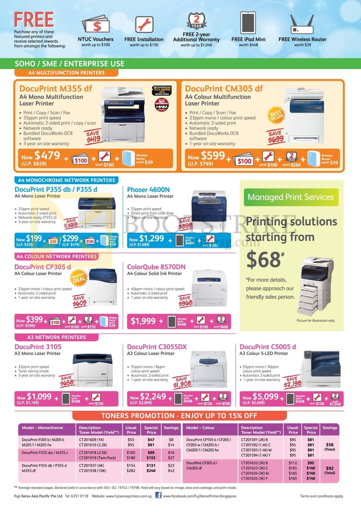Fuji Xerox Printers Laser, Toners, DocuPrint M355 Df, CM305 Df, P355
