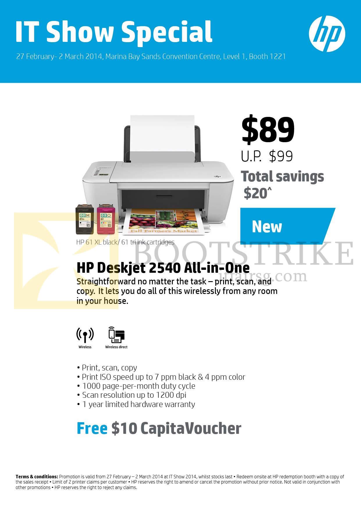 HP Printer Deskjet 2540 IT SHOW 2014 Price List Brochure Flyer Image