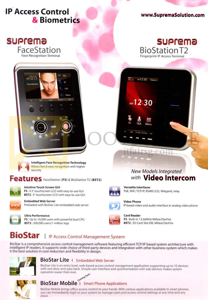 IT SHOW 2014 price list image brochure of Hanman Suprema Solution Suprema FaceStation, BioStation T2 Biostar IP Access Control Management System