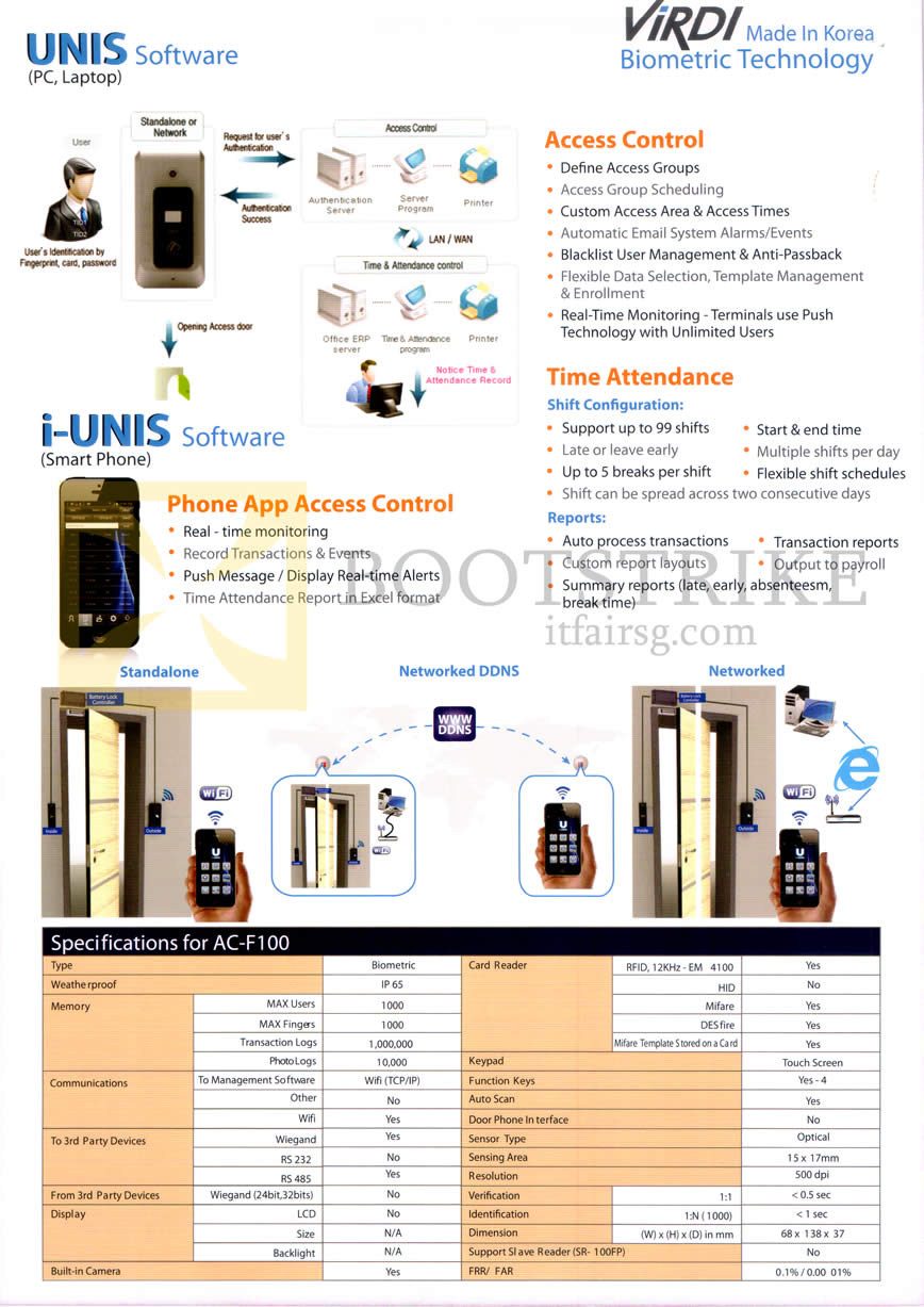 IT SHOW 2014 price list image brochure of Hanman Virdi Biometric Technology Unis Software, I-Unis Software, AC-F100 Features
