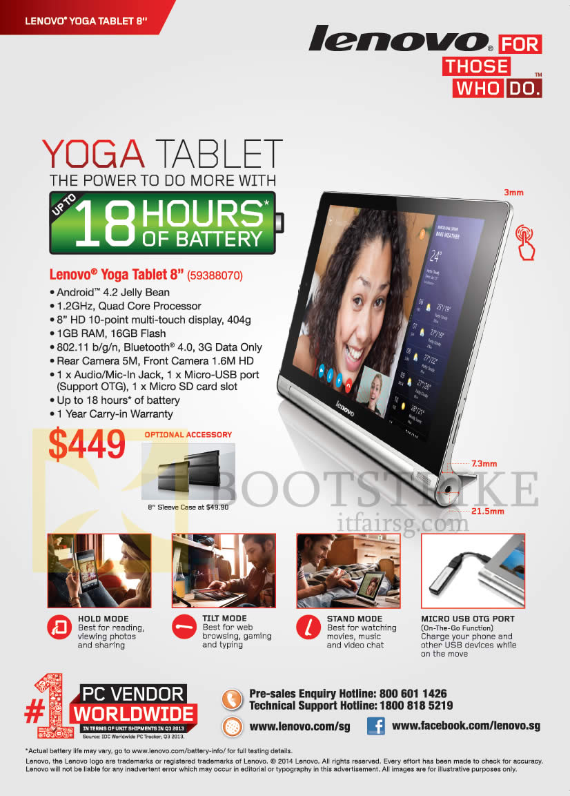 Lenovo yoga tablet 8 features it show 2014 price list for O tablet price list 2014