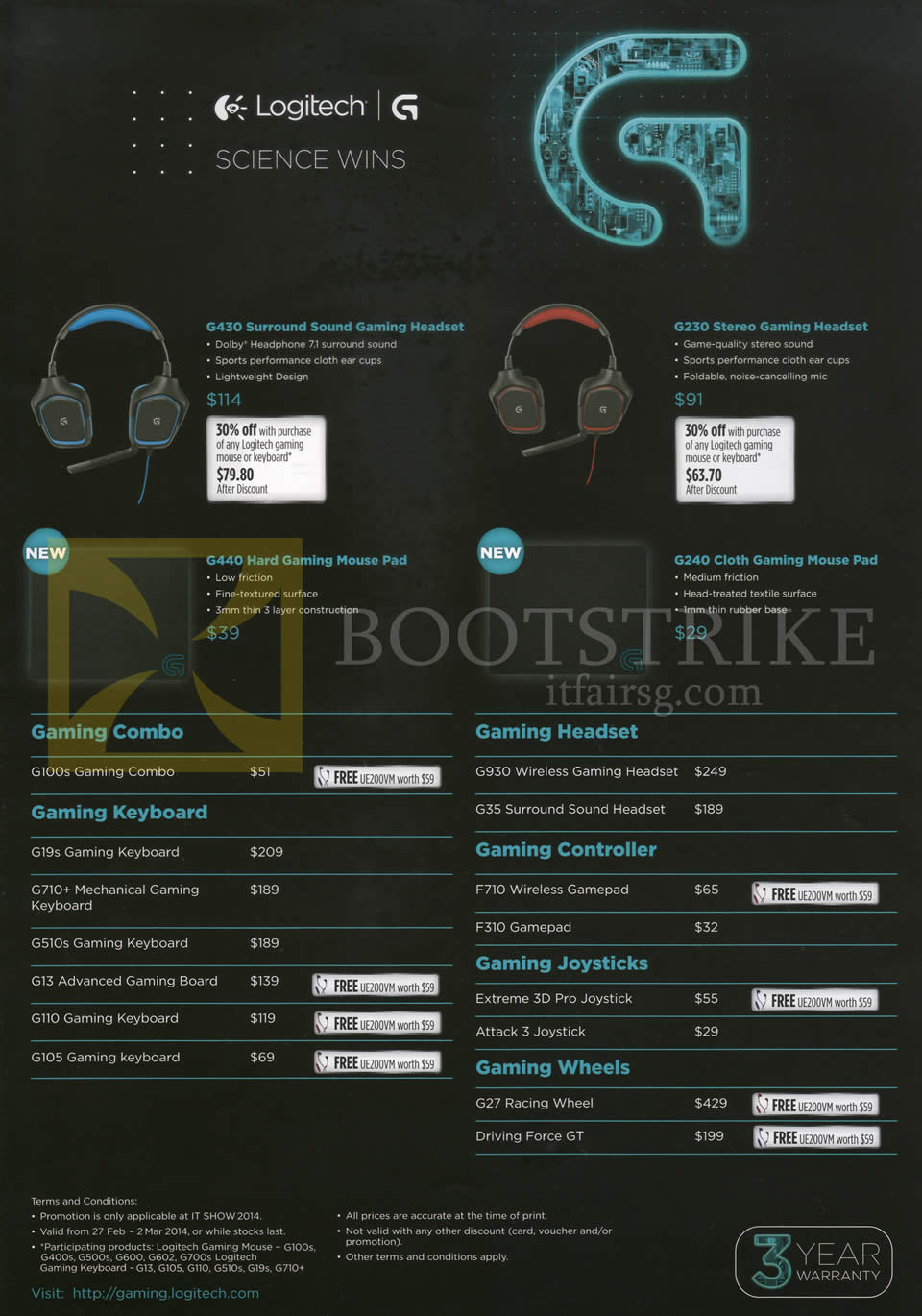 IT SHOW 2014 price list image brochure of Logitech Gaming Headsets G430 Surround, G230 Stereo, Keyboard Mouse G440 G240 G100s G19s G710 G510 G13 G110 G105 G930 G35 F710 F310, G27 Racing Wheel