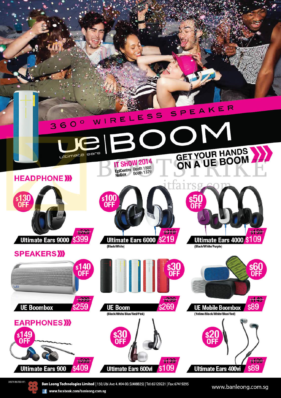IT SHOW 2014 price list image brochure of Logitech Headphones, Speakers, Earphones, Ultimate Ears 9000, 6000, 4000, 900, 600M, 400vi, UE Boom, Mobile Boombox, Boombox