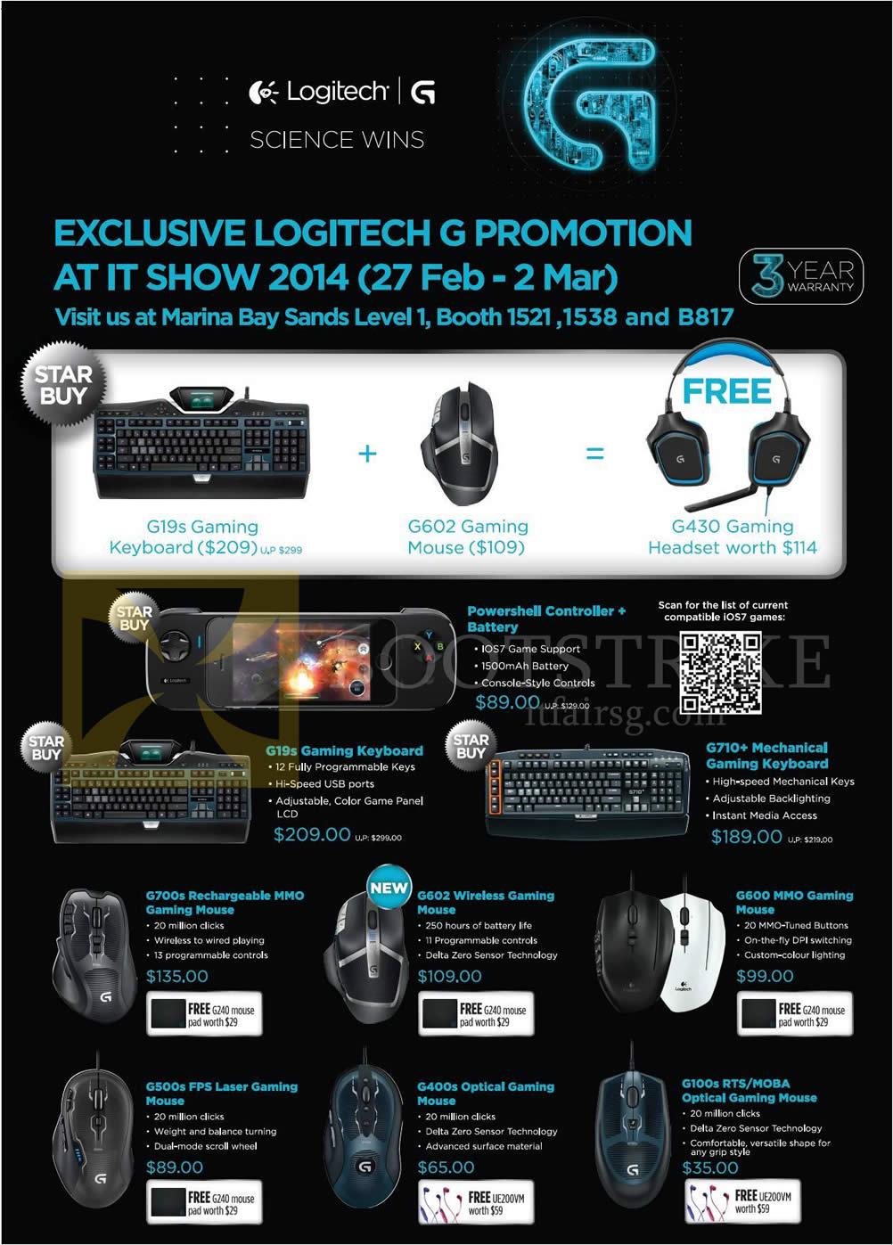 IT SHOW 2014 price list image brochure of Logitech Keyboards Mouse G19s, G602, G430, G710 Plus, G700S, G602, G600, G500S, G400S, G100s