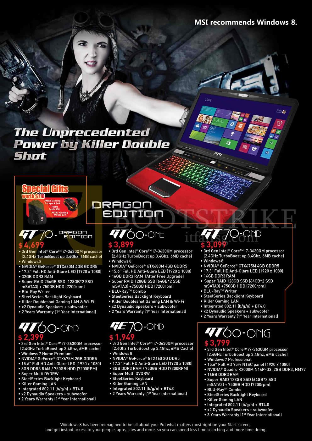 MSI Notebooks GT70, GT60-0NE, GT70 0ND, GT60-0ND, GE70-0ND