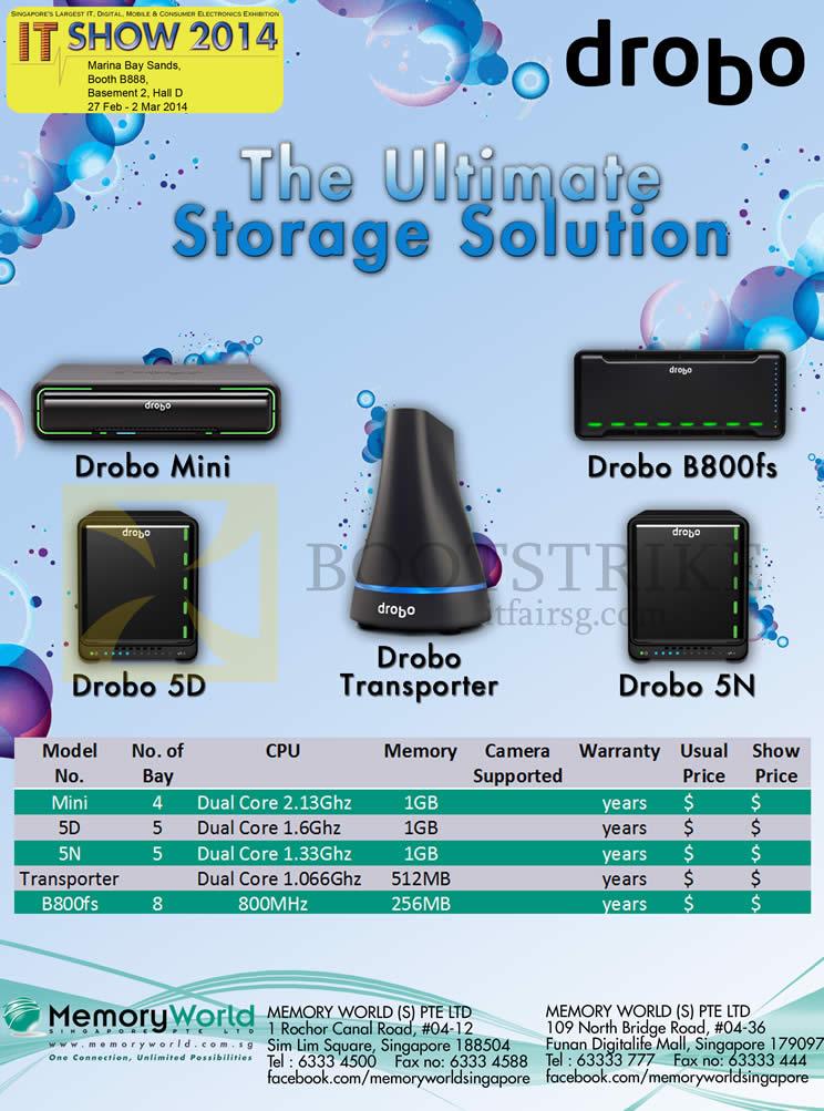 IT SHOW 2014 price list image brochure of Memory World Drobo NAS Mini, 5D, 5N, Transporter, B800fs