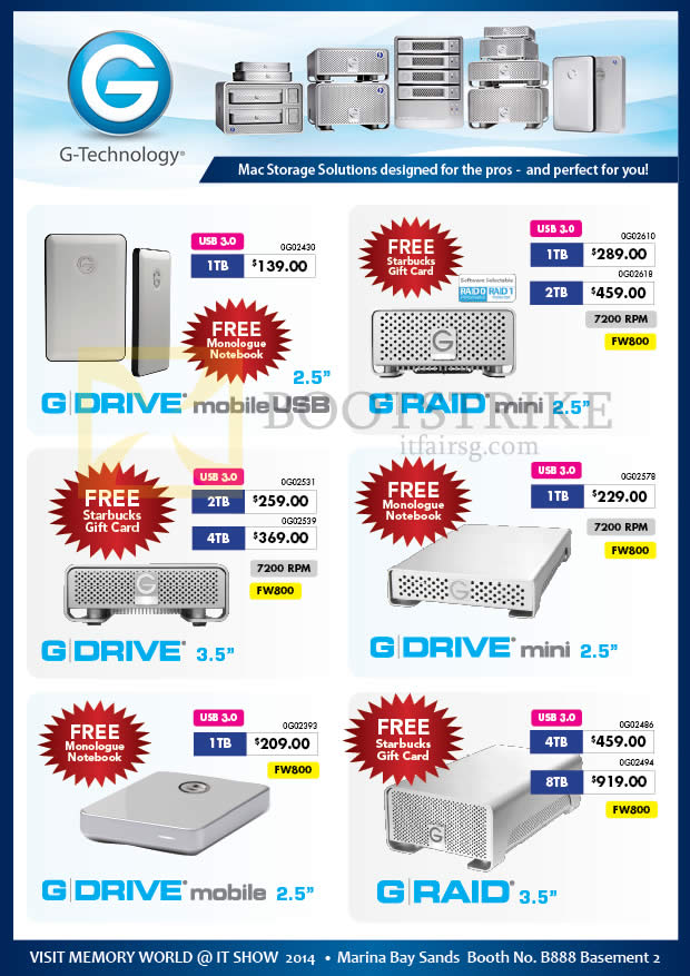 IT SHOW 2014 price list image brochure of Memory World G Technology External Storage, Drive Mobile USB, Raid Mini 1TB 2TB 4TB 8TB