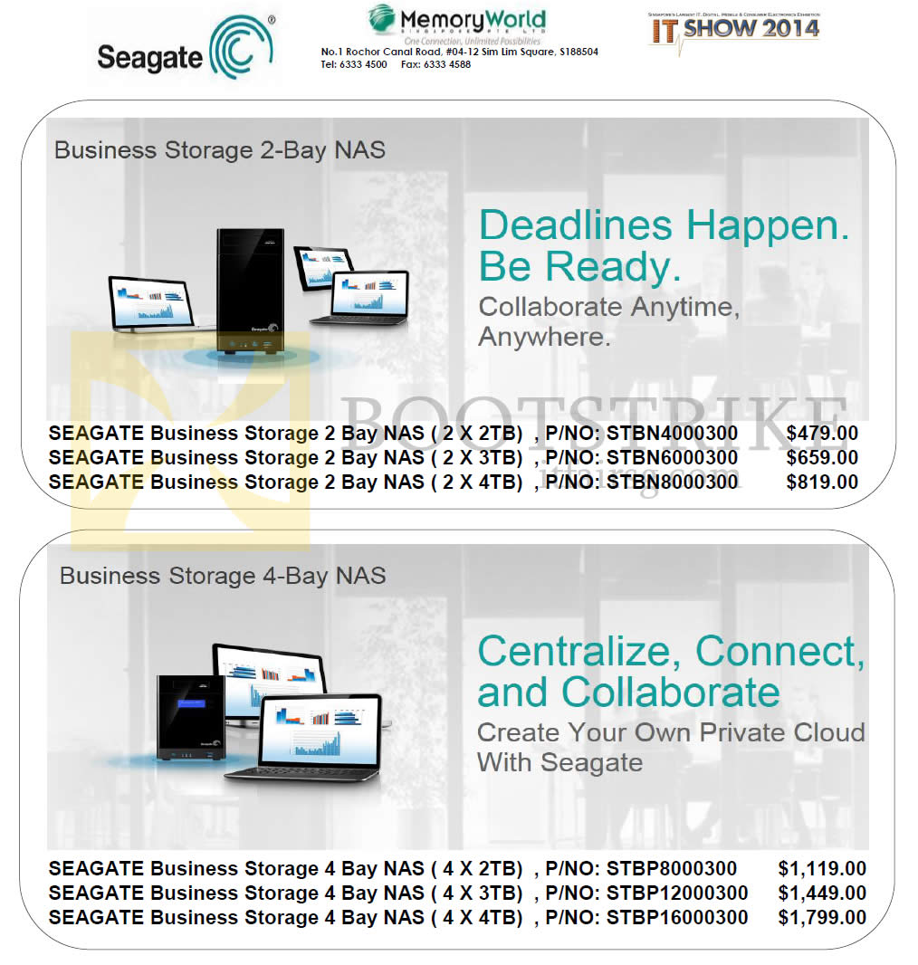 IT SHOW 2014 price list image brochure of Memory World NAS Seagate Business Storage