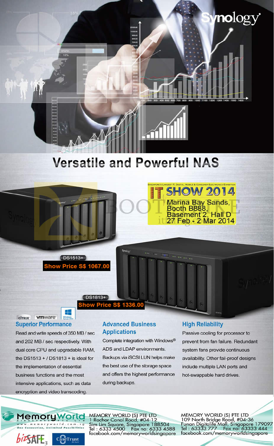 IT SHOW 2014 price list image brochure of Memory World NAS Synology DiskStation DS1513 Plus, DS1813 Plus