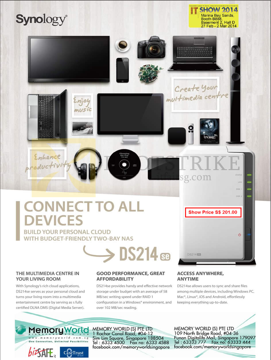 IT SHOW 2014 price list image brochure of Memory World NAS Synology DiskStation DS214