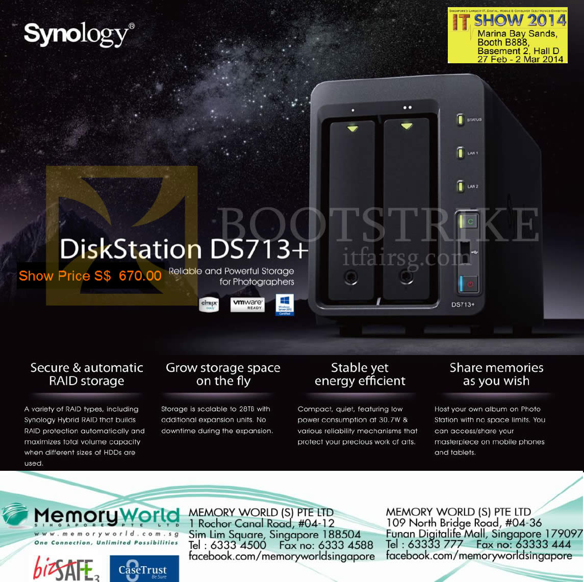 IT SHOW 2014 price list image brochure of Memory World NAS Synology DiskStation DS713 Plus
