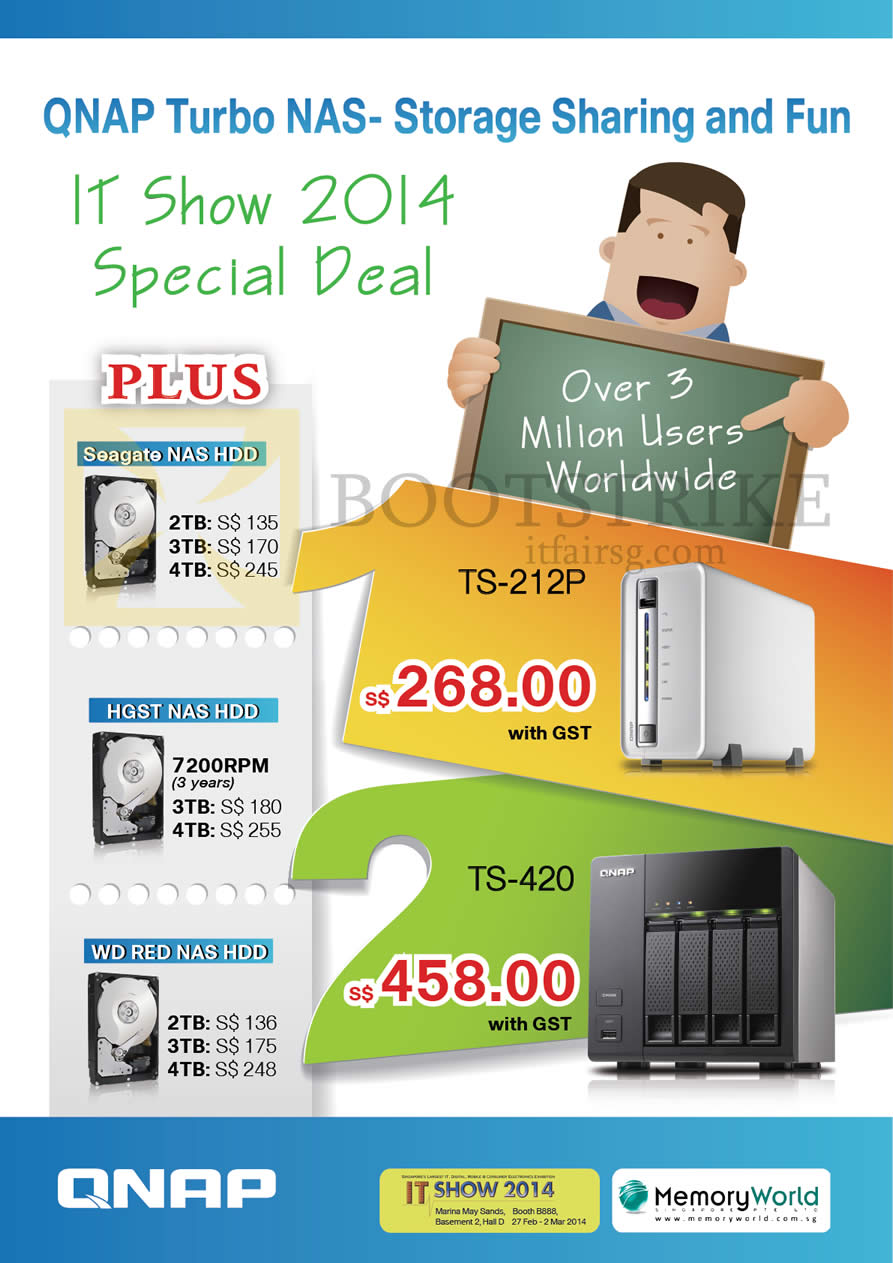 IT SHOW 2014 price list image brochure of Memory World Qnap NAS HardDisk Seagate, HGST NAS, WD Red NAS