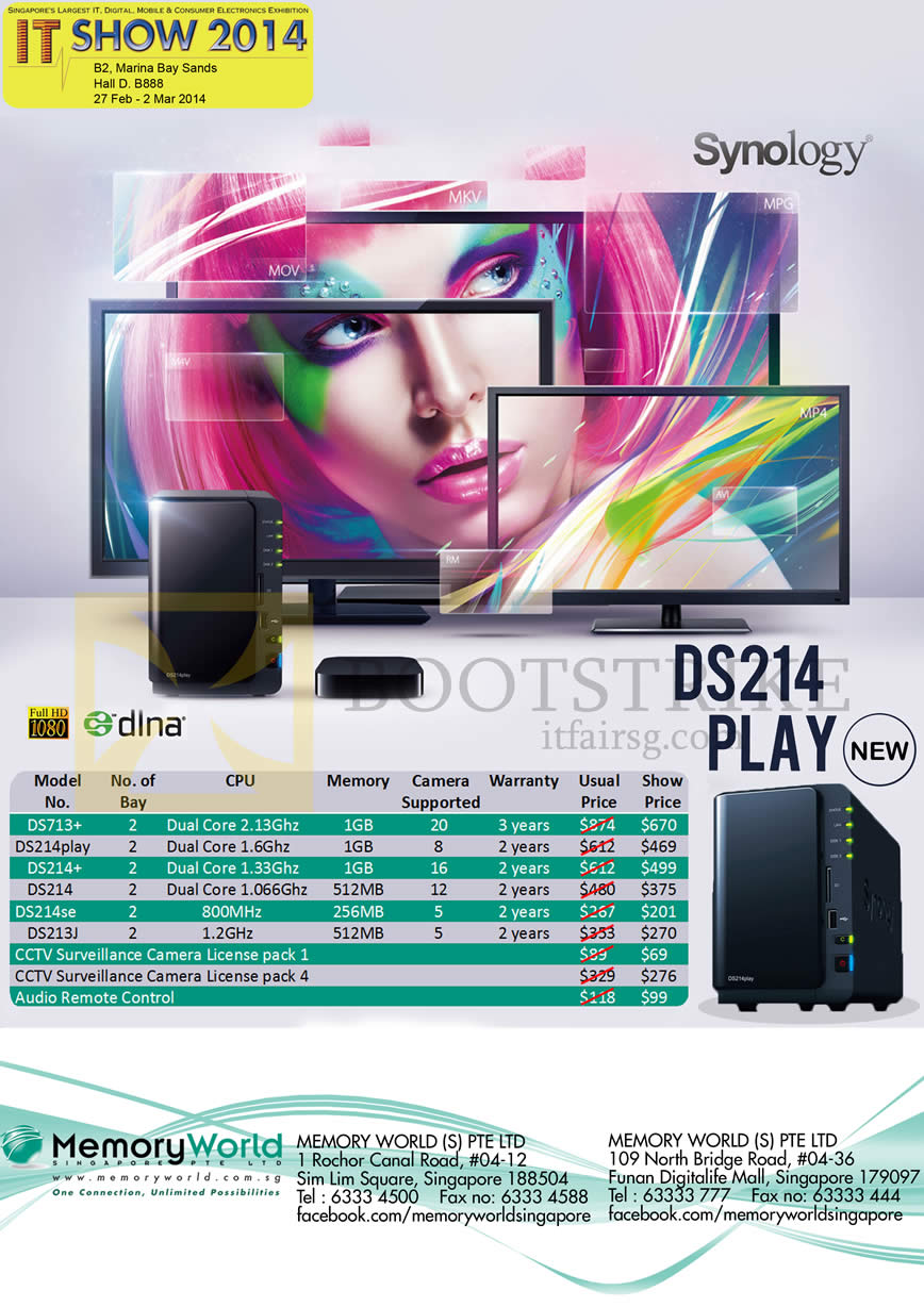 IT SHOW 2014 price list image brochure of Memory World Synology DiskStation DS212 DS713 DS214 CCTV
