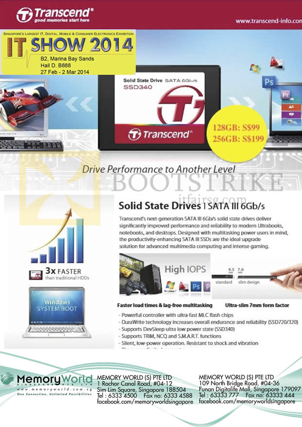 IT SHOW 2014 price list image brochure of Memory World Transcend SSD Sata III 128GB 256GB