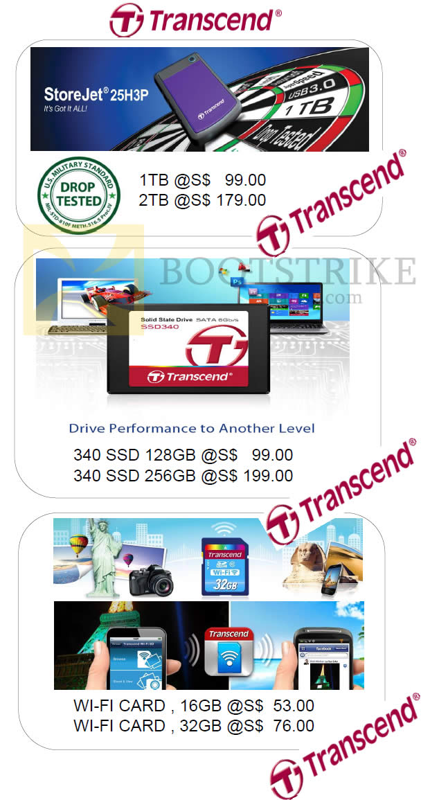 IT SHOW 2014 price list image brochure of Memory World Transcend Storejet 25H3P, SSD, Wi-Fi Card