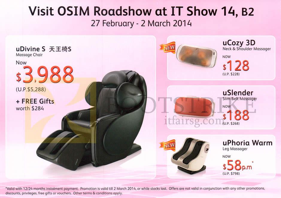 IT SHOW 2014 price list image brochure of Osim UDivine S Massage Chair, UCozy 3D Neck Shoulder Massager, USlender, UPhoria Warm Leg