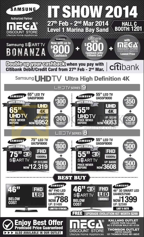 IT SHOW 2014 price list image brochure of Samsung Mega TV UA65F9000, UA55F9000, UA75F8000, UA55F8000, UA46D5000, UA46ES7500