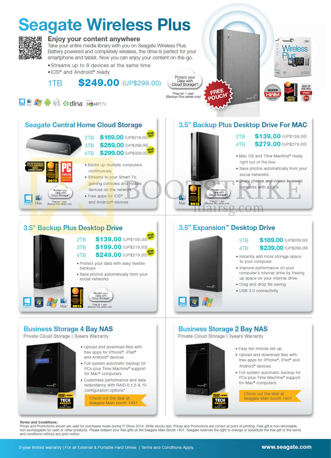 IT SHOW 2014 price list image brochure of Seagate External Storage Wireless Plus, Central Home Cloud Storage, Backup Plus, Expansion, Business NAS, 2TB 3TB 4TB