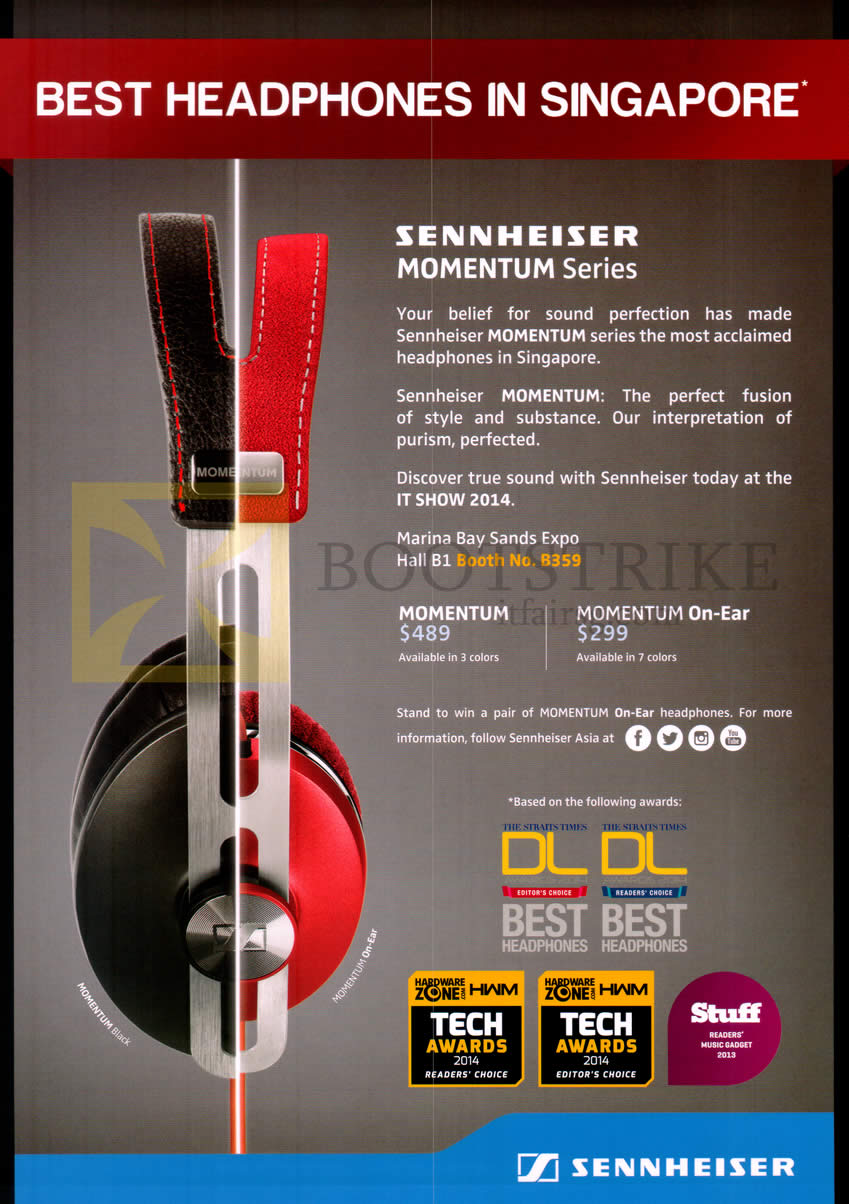 IT SHOW 2014 price list image brochure of Sennheiser Momentum Series Pan Trade Headphones, On-Ear