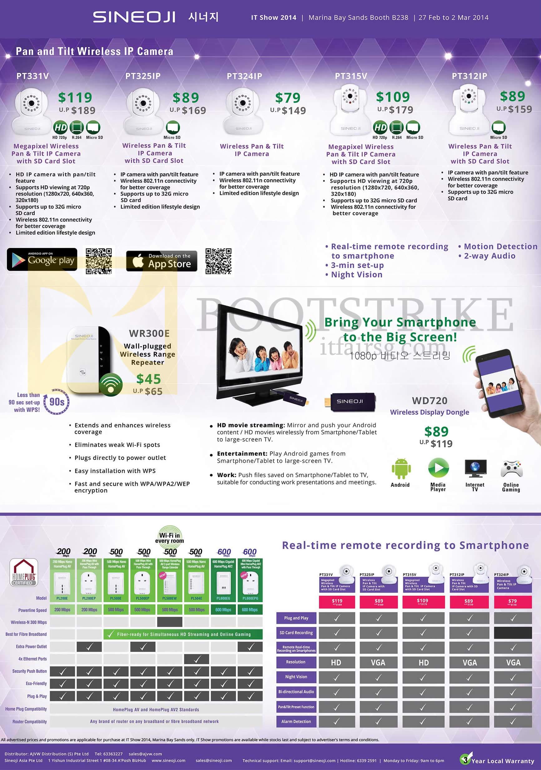 IT SHOW 2014 price list image brochure of Sineoji Networking IPCam Cameras, Wireless Repeater, HomePlug, PT331V PT325IP, PT324IP, PT315V, PT312IP, WD720