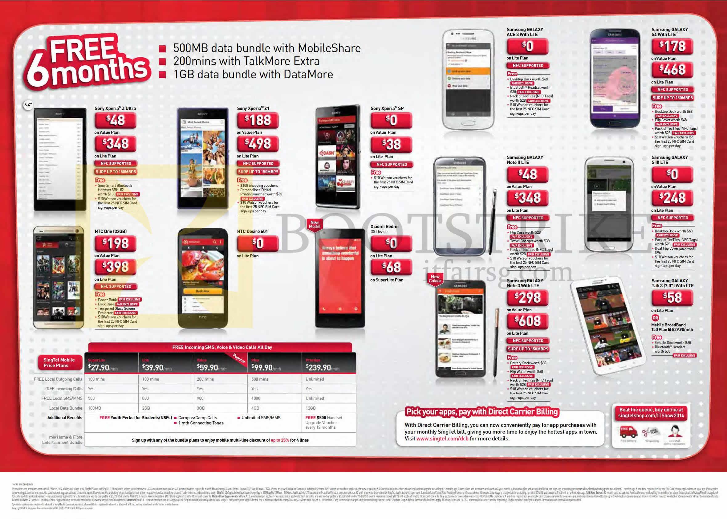 Singtel Mobile Price Plans, Xiaomi Redmi, Sony Xperia Z Ultra Z1 SP