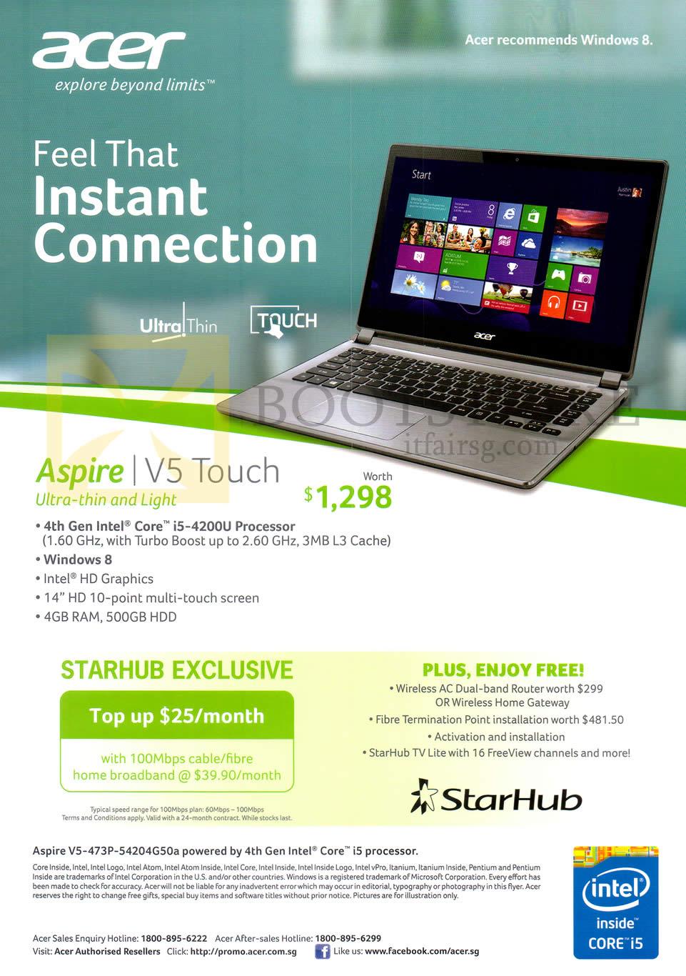 StarHub Acer Aspire Notebook V5-473P-54204G50a ...