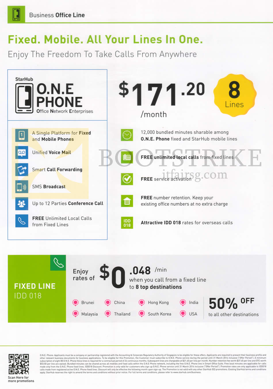 IT SHOW 2014 price list image brochure of StarHub Business One Phone 8 Lines, Fixed Line Packages