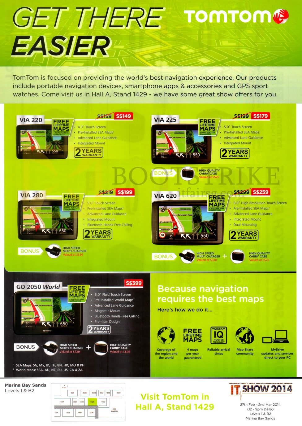 IT SHOW 2014 price list image brochure of Tomtom GPS Navigators VIA 220, 225, 280, 620, GO 2050 World