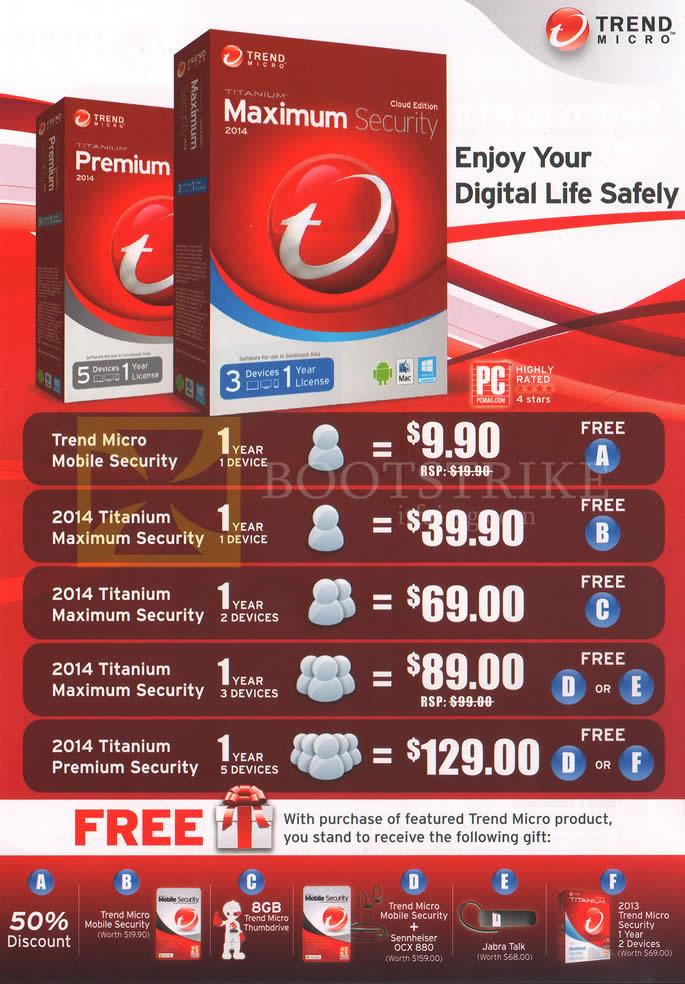 IT SHOW 2014 price list image brochure of Trend Micro Software Internet Security, Mobile, Titanium Maximum, Premium