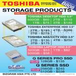 Toshiba Storage SSD Desktop HDD HardDisk, Enterprise, NAS, CCTV HDD, Laptop HDD, Q Series Pro