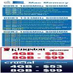 Apple Mac Kingston Crucial Memory RAM DDR3, Kingston