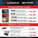 Kingston CF Compact Flash Memory Cards, Card Readers MicroSD