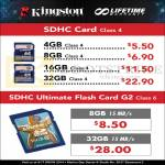 Kingston Flash Memory SDHC Card Class 4, Ultimate Flash Card G2 Class 6