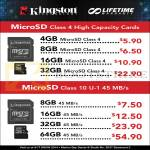 Kingston MicroSD Class 10 U1, Class 4, Memory Cards