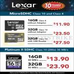 Lexar MicroSDHC 16GB 32GB, Platinum II SDHC