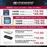 Transcend SDHC CL10 UHS1, Card Reader, External Optical Drive DVD Writer