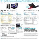 Desktop PCs, Notebooks, AIO Desktop PCs Pavilion Slimline 400-237d, 235d, 265d, Envy Recline K104d, Beats SE M210d, Pavilion A218d, H011d, H019d