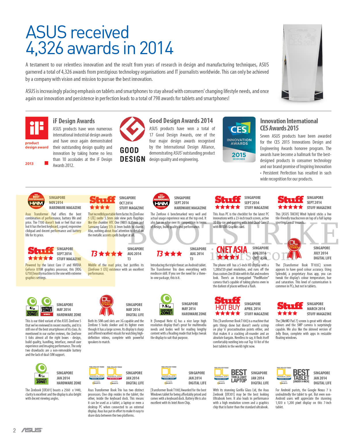 IT SHOW 2015 price list image brochure of ASUS 2014 Awards