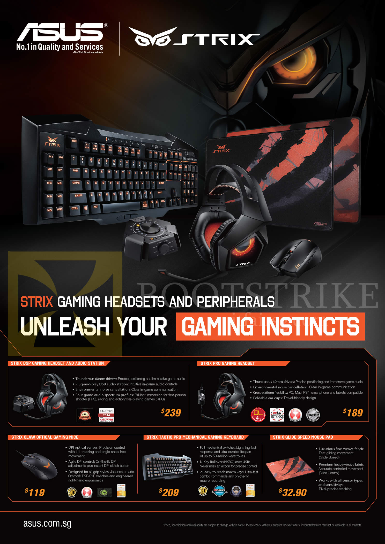 IT SHOW 2015 price list image brochure of ASUS Accessories Strix Audio Station, Headset, Mouse, Keyboard, Mousepad, DSP, Pro, Claw, Tactic Pro, Glide Speed