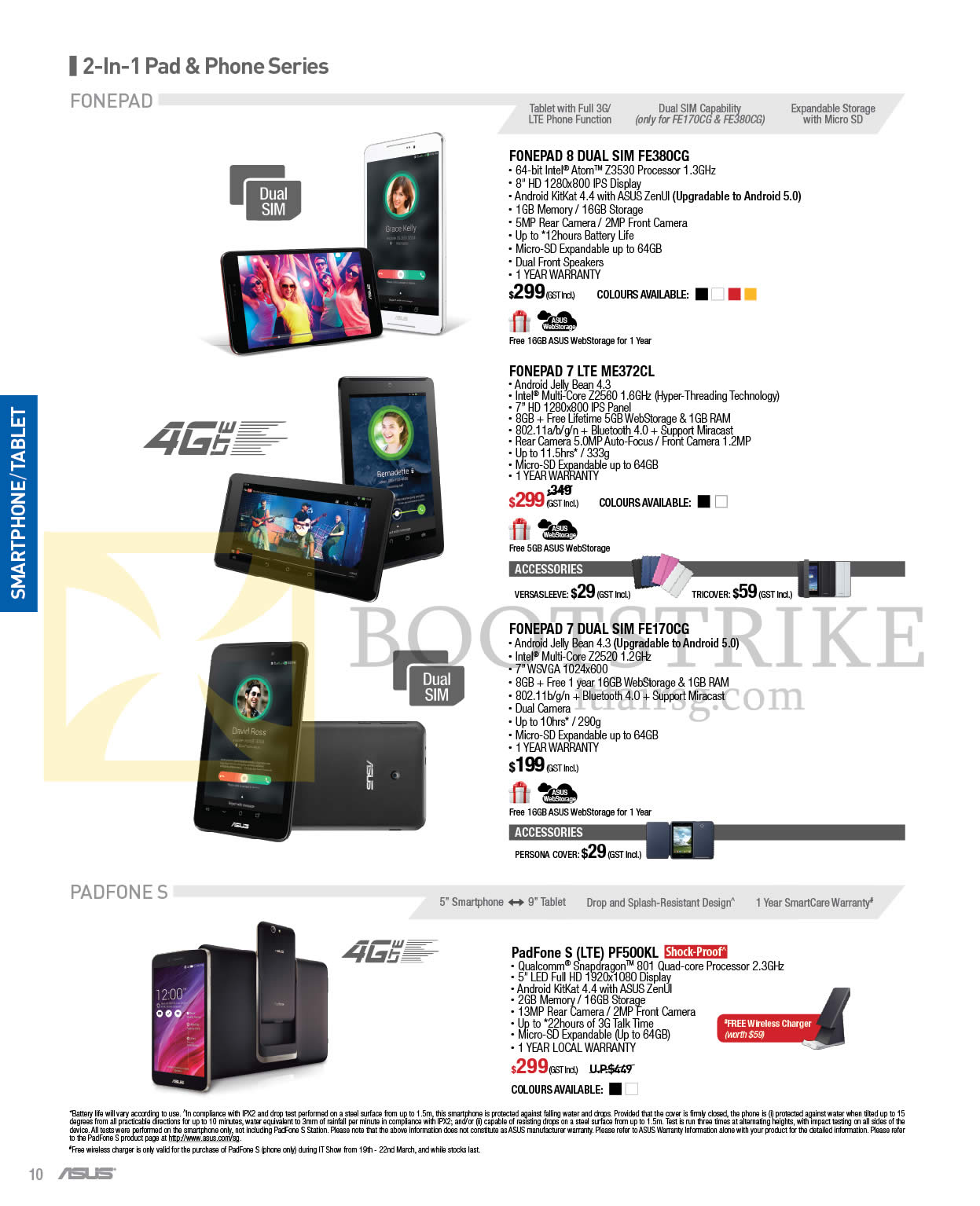 IT SHOW 2015 price list image brochure of ASUS Mobile Phones Fonepad 8 7, Padfone S