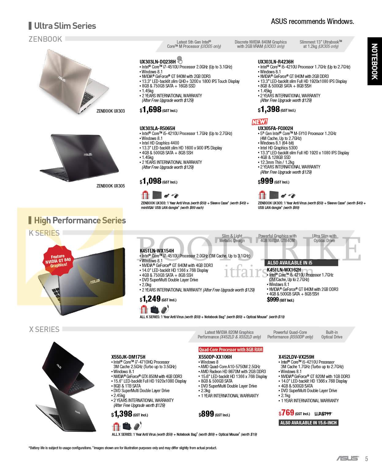 IT SHOW 2015 price list image brochure of ASUS Notebooks Zenbook, K X UX303LN-DQ238H, R4236H, UX303U-R5065H, UX305FA-FC002H, K451LN-WX154H, WX162H, X550JK-DM175H, X550DP-XX106H, X452LDV-VX259H