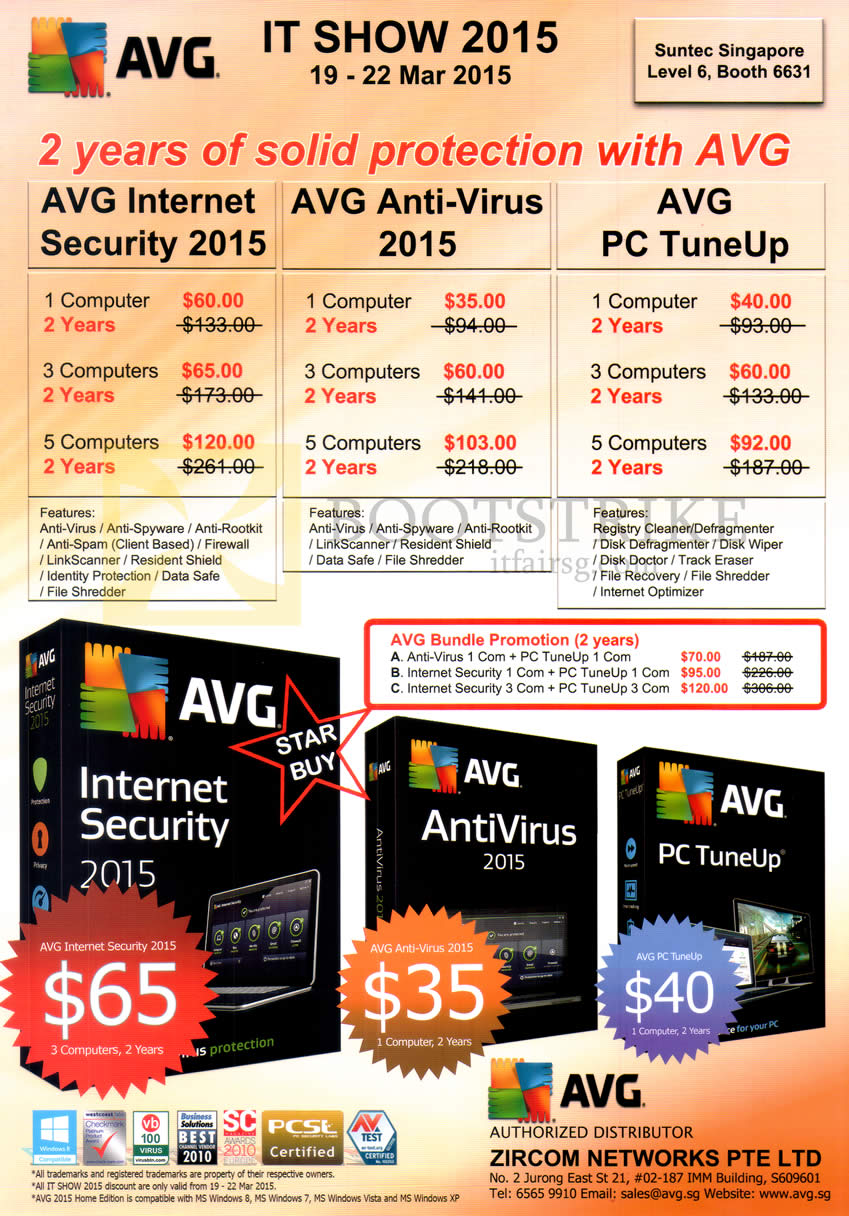 IT SHOW 2015 price list image brochure of AVG Zircom Internet Security 2015, Anti-Virus, PC TuneUp