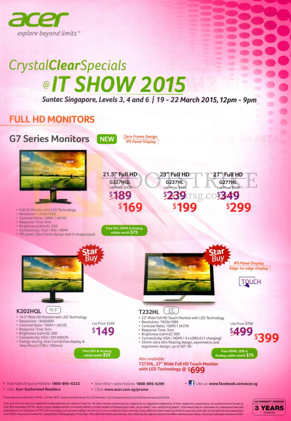 IT SHOW 2015 price list image brochure of Acer Monitors G7 Series, G227HQL, G237HL, G277HL, K202HQL, T232HL