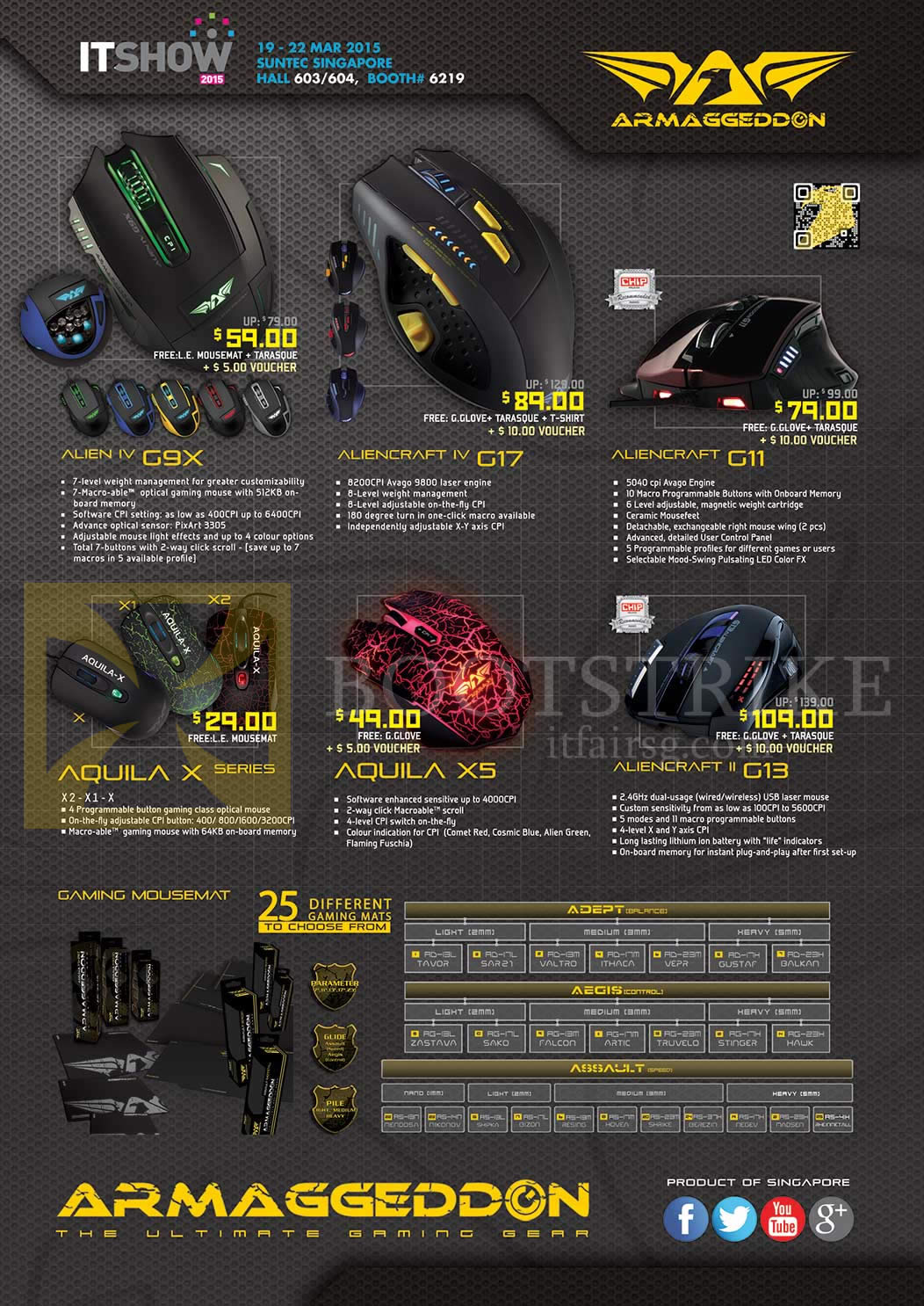 IT SHOW 2015 price list image brochure of Armaggeddon Mouse, Mouse Mats, Alien IV G9X, Aliencraft IV G17, G11, II G13, Aquila X Series, X5