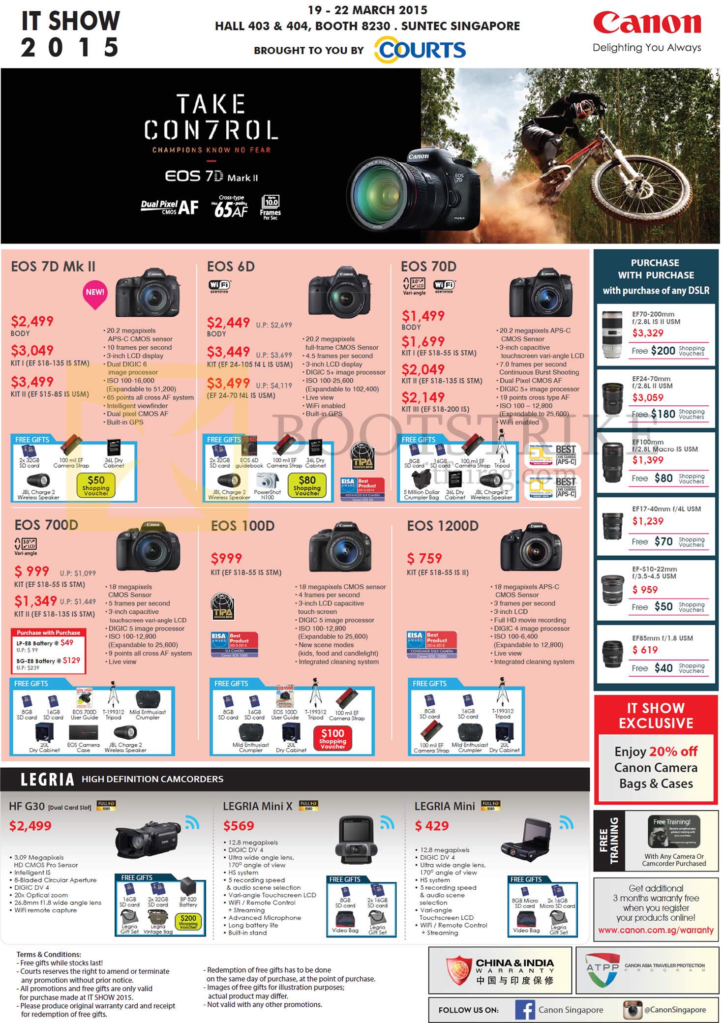 Canon DSLR Digital Cameras, EOS 7D Mk II, 6D, 70D, 700D, 100D, 1200D, Legria, HF G30, Mini X, Mini
