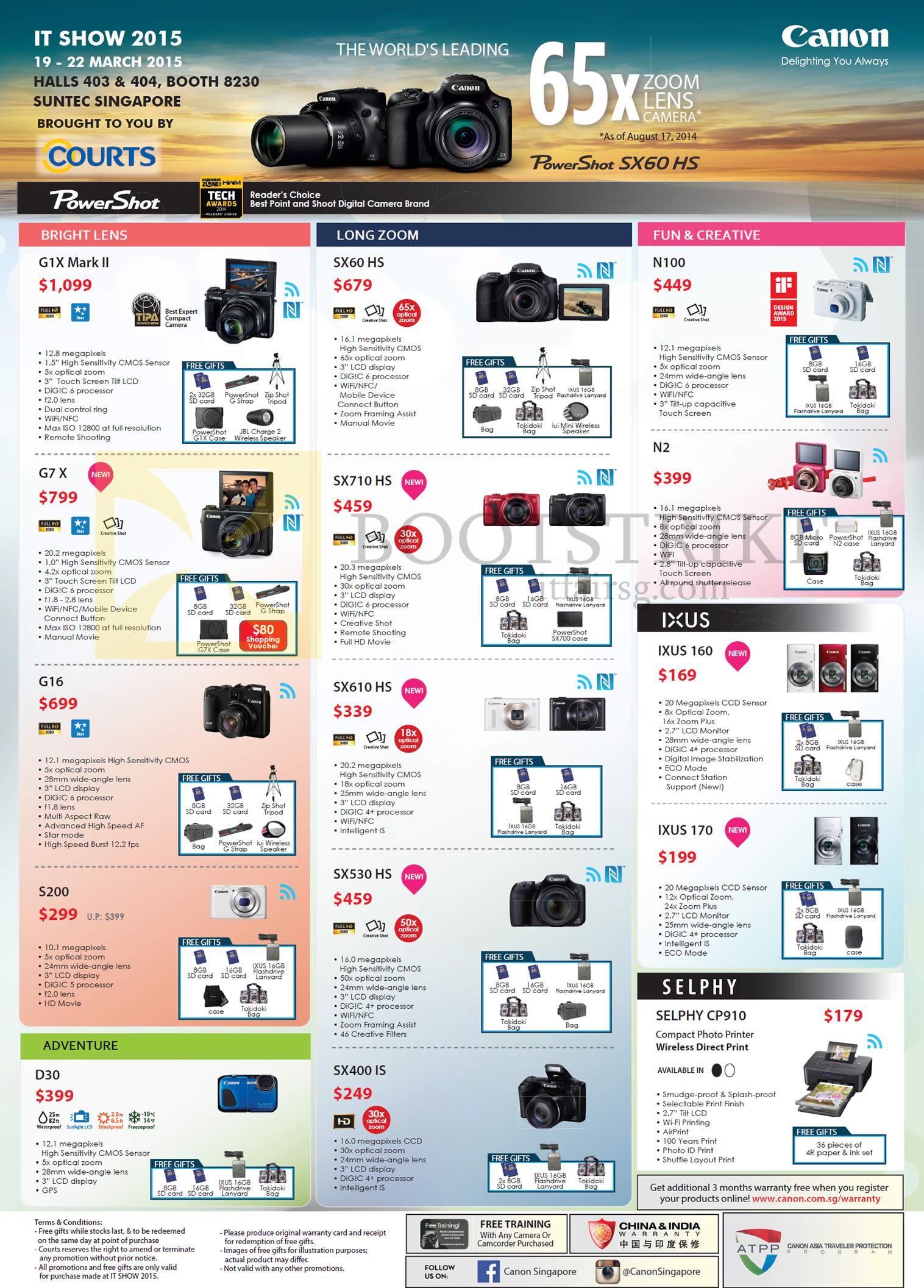 Canon Digital Cameras, PowerShot N100, SX60 HS, G1X Mark II, G7 X, SX710 HS, N2, IXUS 160, SX610 HS, G16, S200, SX530 HS, IXUS 170, SELPHY CP910, SX400 IS, D30