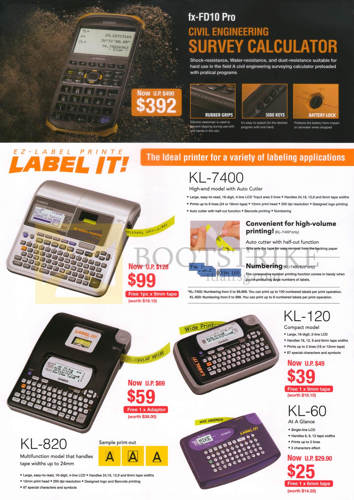 IT SHOW 2015 price list image brochure of Casio Labellers Ez-Label Printe Label It KL-7400, 820, 120, 60, Fx-FD10 Pro Survey Calculator