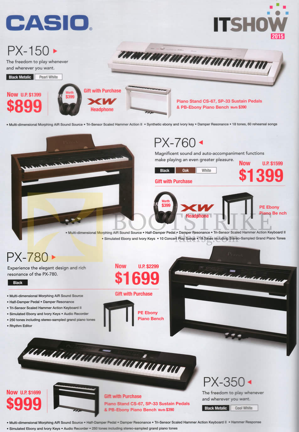 IT SHOW 2015 price list image brochure of Casio Pianos PX-150, PX-760, PX-780, PX-350