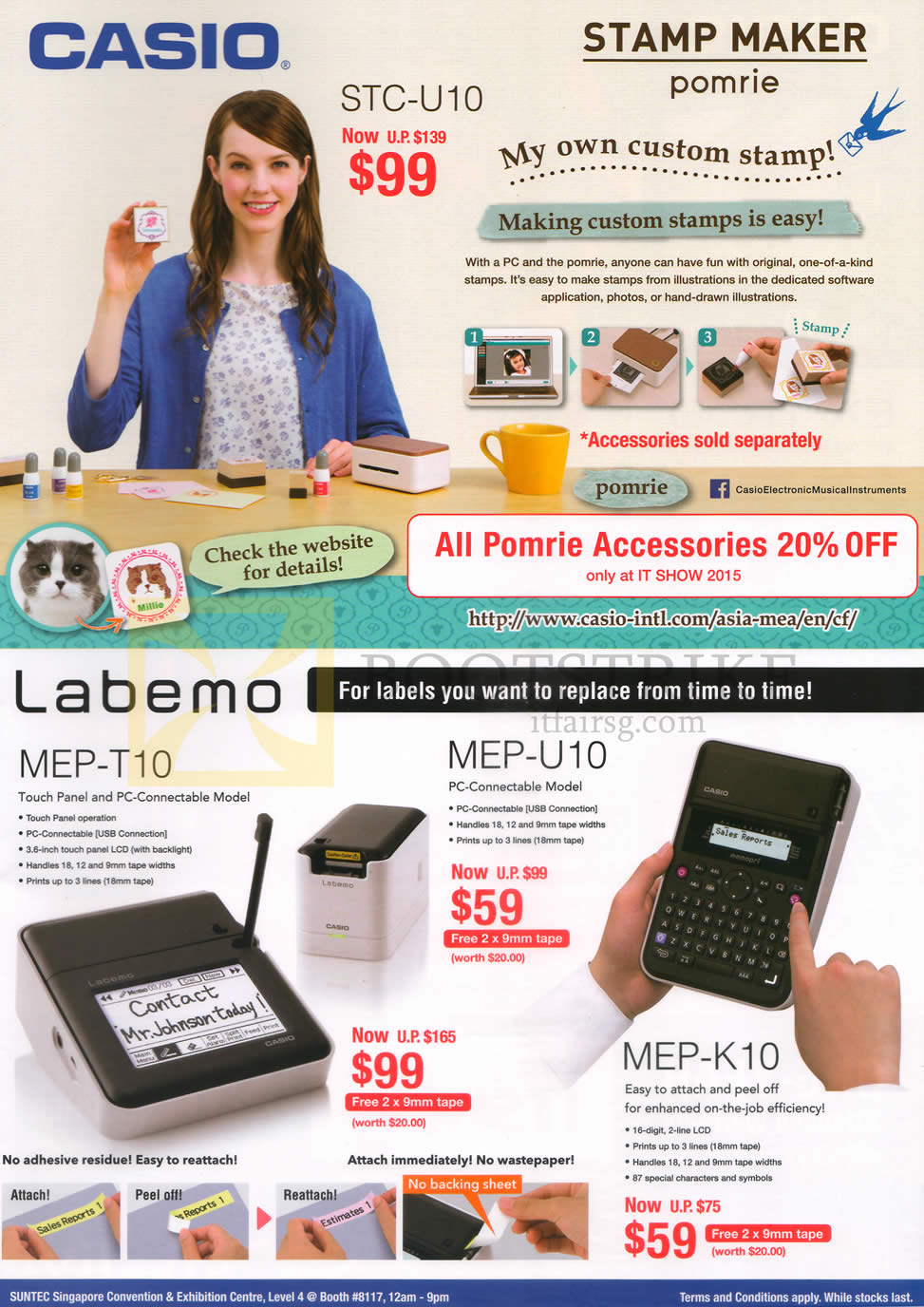 IT SHOW 2015 price list image brochure of Casio Stamp Maker, Labeller, STC-U10, Labemo MEP-T10, U10, K10, Pomrie
